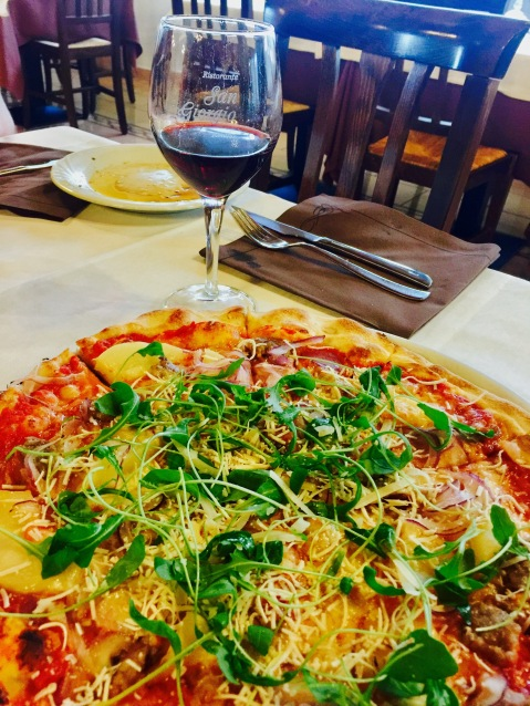 Pizza with Prosciutto, Greens, and Potato