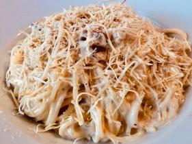Spaghetti Fumo (Spaghetti with smoked mozzarella, pancetta, and egg cream sauce)