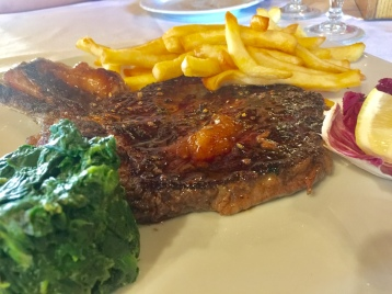 T-Bone Steak, Spinach, and Fries